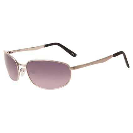 Men's Metal Sunglasses - Silver Colored Finish, Magenta Lenses