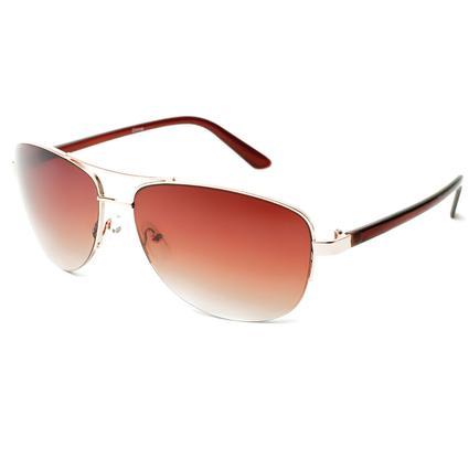 Ladies' Metal Aviator Sunglasses - Gold Colored Finish, Amber Lenses