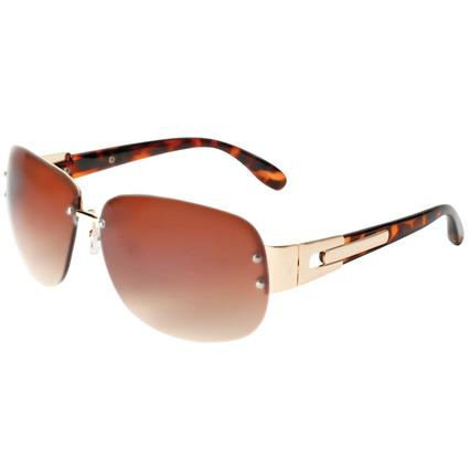 Ladies' Tortoiseshell Sunglasses - Gold Colored Finish, Amber Lenses