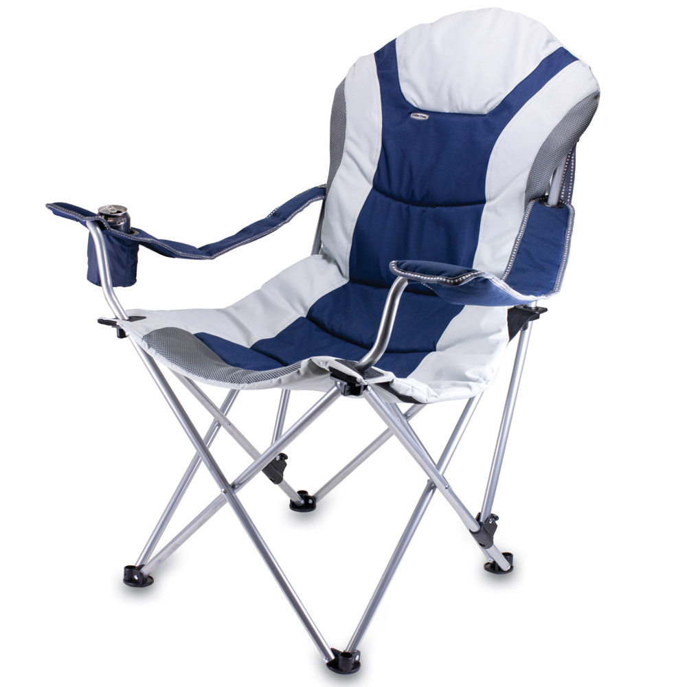 Reclining Camp Chair  Navy   Picnic Time 803 00 138   Folding Chairs    Camping World