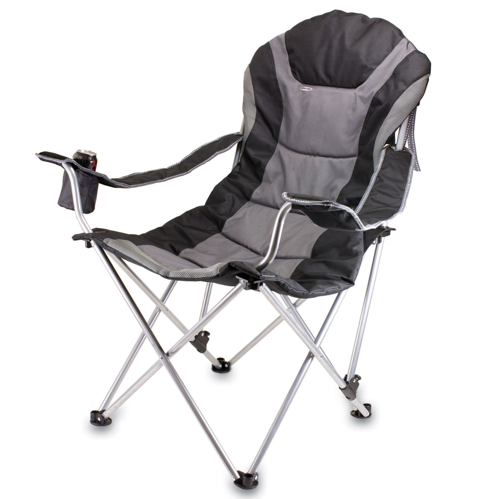 Reclining Camp Chair  Black   Picnic Time 803 00 175   Folding Chairs    Camping World