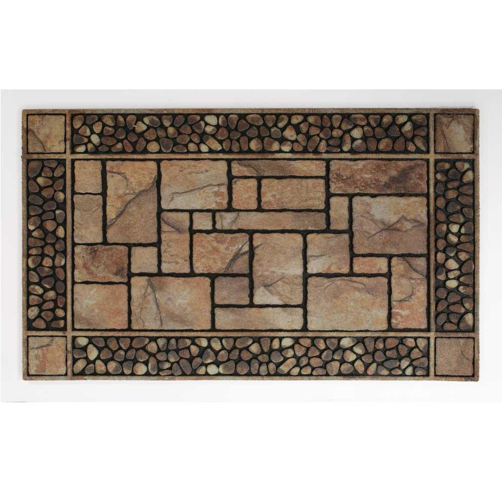 Patio Mat, Recycled Rubber, Stone Design, 30'x18', Brown/Tan - Patio Mat, Recycled Rubber, Stone Design, 30'x18', Brown/Tan