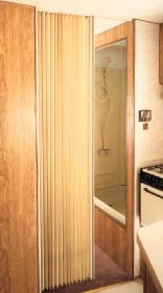 Pleated Bi-Fold Door - Beige - Irvine Shade & Door 3675FBH - Drapery ...