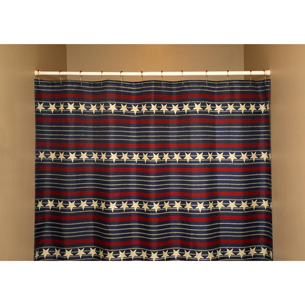 Mold Resistant Shower Curtain Navy Stripe Shower Curtain