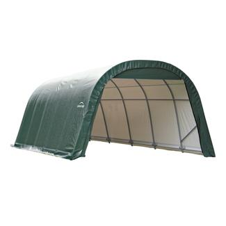 Round Style Shelter 12 x 28 x 8 Green Cover