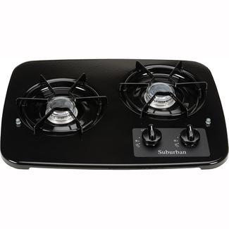 2 Burner Drop-In Cooktop, Black top