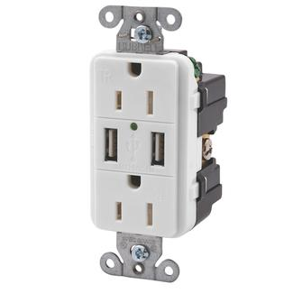 Double USB Charger with Double 110v outlet - White