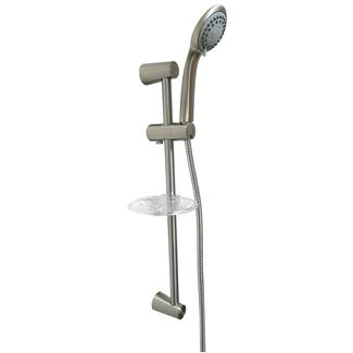 Shower Head &amp&#x3b; Soap Dish Assembly, Brushed Nickel