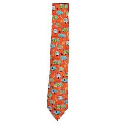Travel Trailers and Pop-Ups on Orange Background Tie