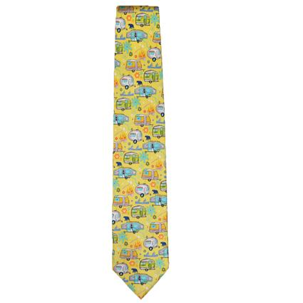 Travel Trailers and Pop-Ups on Sunny Yellow Background Tie
