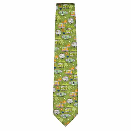 Travel Trailers and Pop-Ups on Spring Green Background Tie