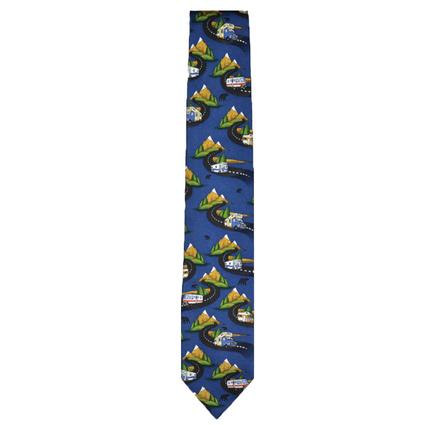 Mountain Motorhomes on Navy Background Tie