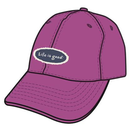 Life Is Good Women's Chill Caps - Hot Fuchsia with Tattered Life Is Good Oval Appliqué