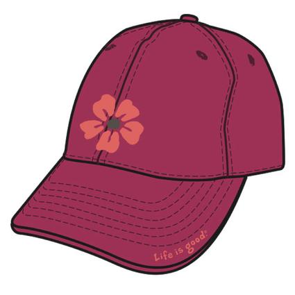 Life Is Good Women's Chill Caps - Cherry Red with Daisy