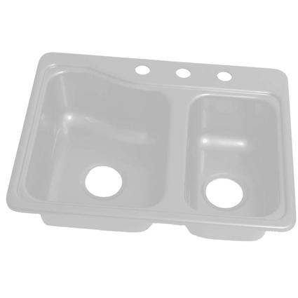 25 x 19 3 hole double bowl galley sink white lippert for The galley sink price