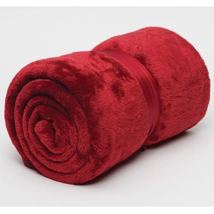 Polyester Cashmere Plush Throw - Burgundy