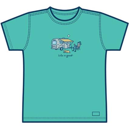 "Life is good Ladies' Airstream ""Lemonade"" T-shirt – Aqua Blue - XX-Large"
