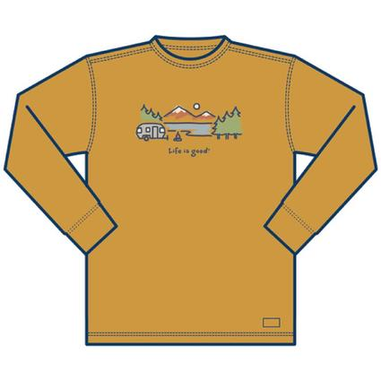"Life is good Men's Airstream ""Lakeside Snow"" T-shirt – Summer Gold - Medium"