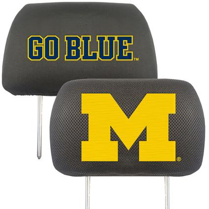 Fanmats Head Rest Covers, Set of 2 - University of Michigan