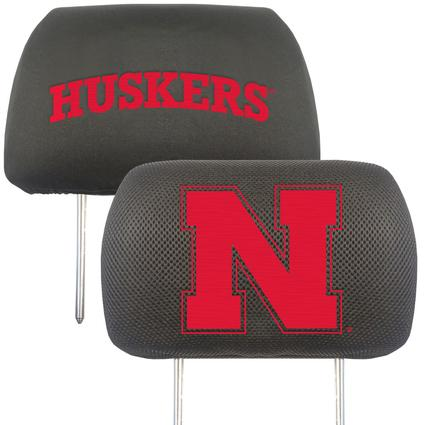 Fanmats Head Rest Covers, Set of 2 - University of Nebraska