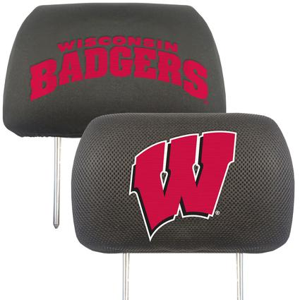 Fanmats Head Rest Covers, Set of 2 - University of Wisconsin