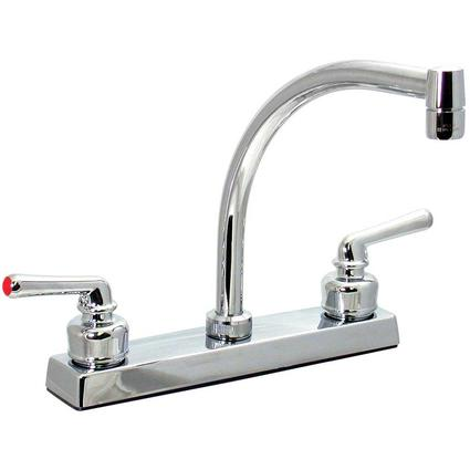 Chrome Finish Hi Arc Kitchen Faucet with Tea Cup Handles