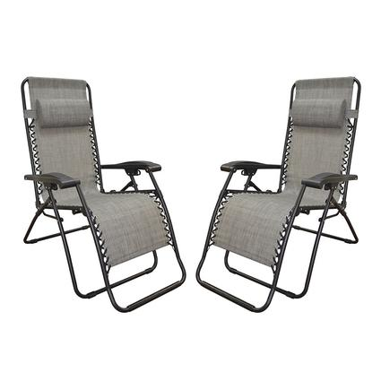 Zero Gravity Recliner, Grey - 2 Pack