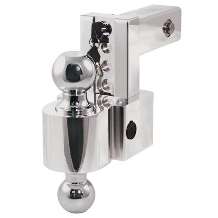 "Adjustable Locking Ball Mounts, 4"" Drop with 2"" and 2 5/16"" Hitch Balls, for 2"" Receiver"