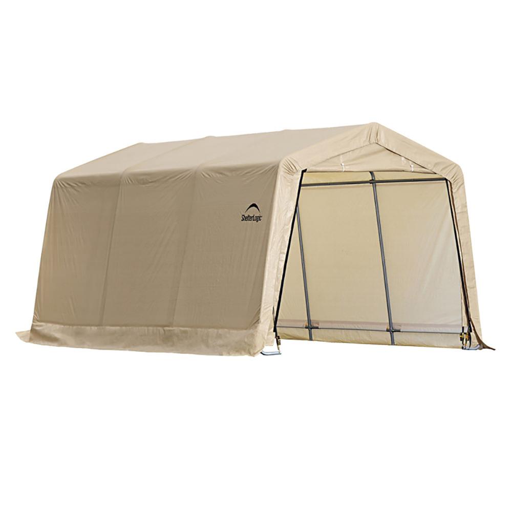 Auto Shelter 10 x 20, Peak Style Frame, Sandstone Cover ...