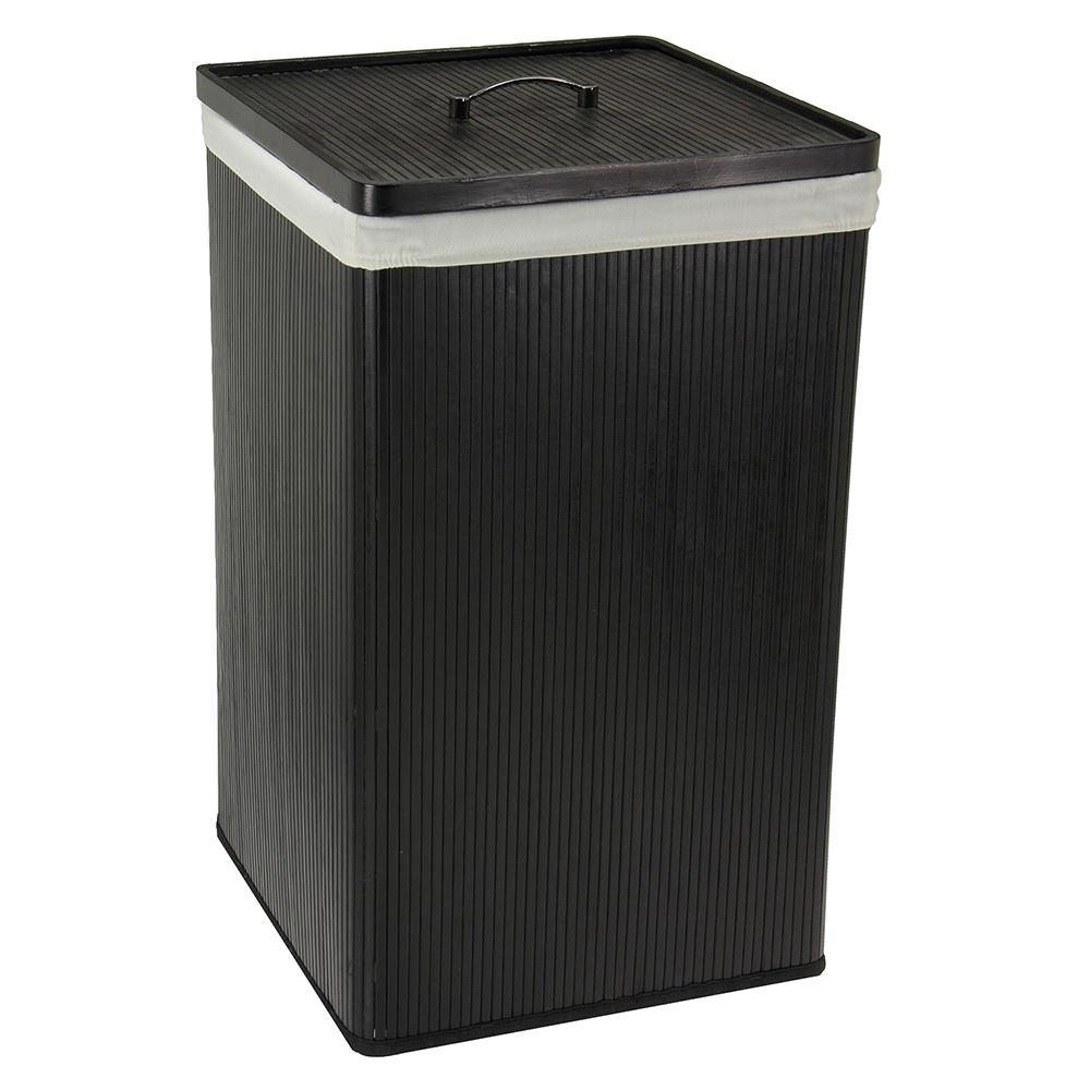 Black Bamboo Hamper With Lid Household 6200 1 Laundry