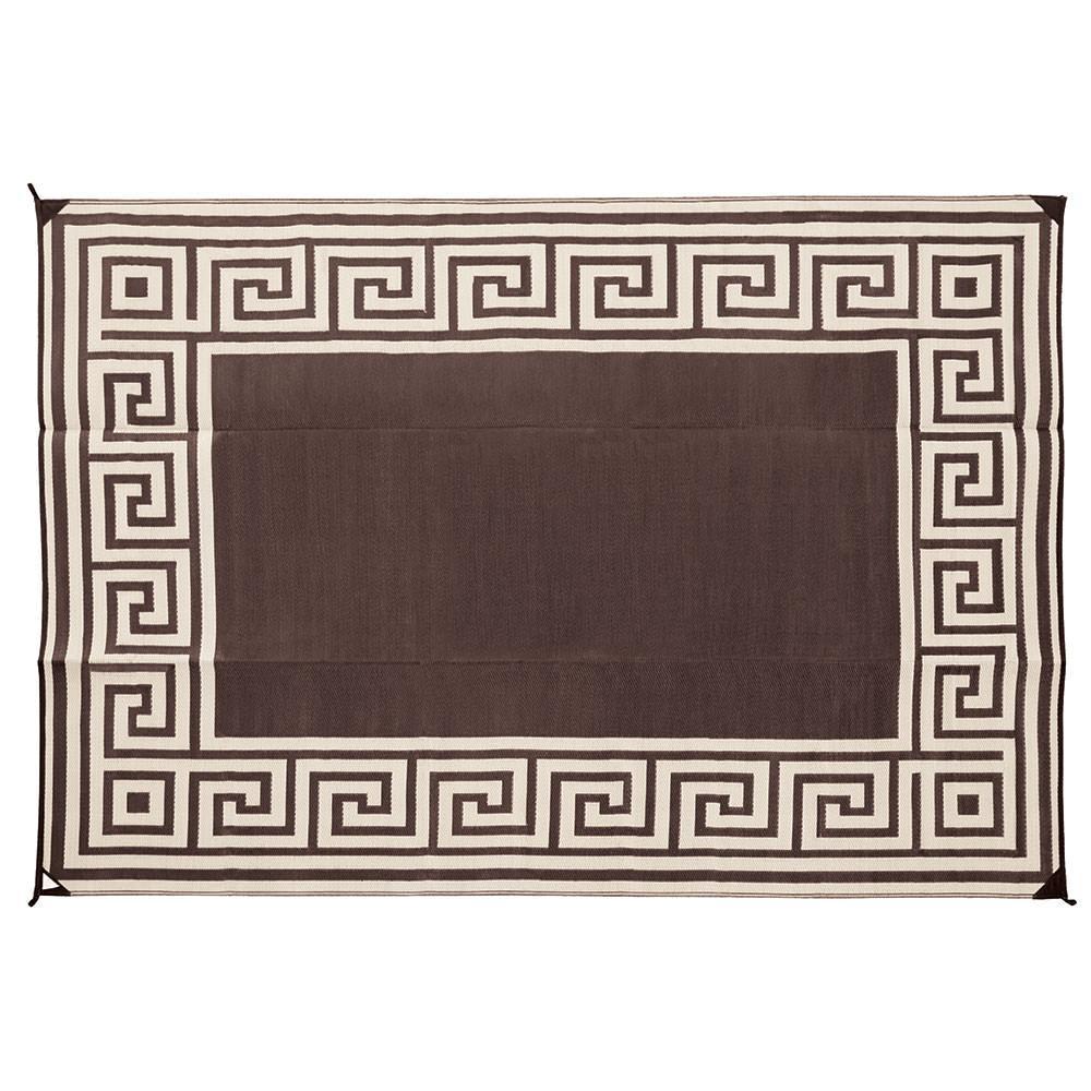 Direcsource Ltd Reversible Patio Mat, 9 X 12, Coffe Brown Greek Design ...