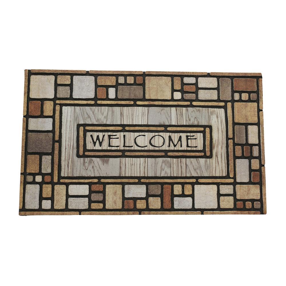 Doormat welcome gather harvest welcome door mat department for Welcome home front door mats
