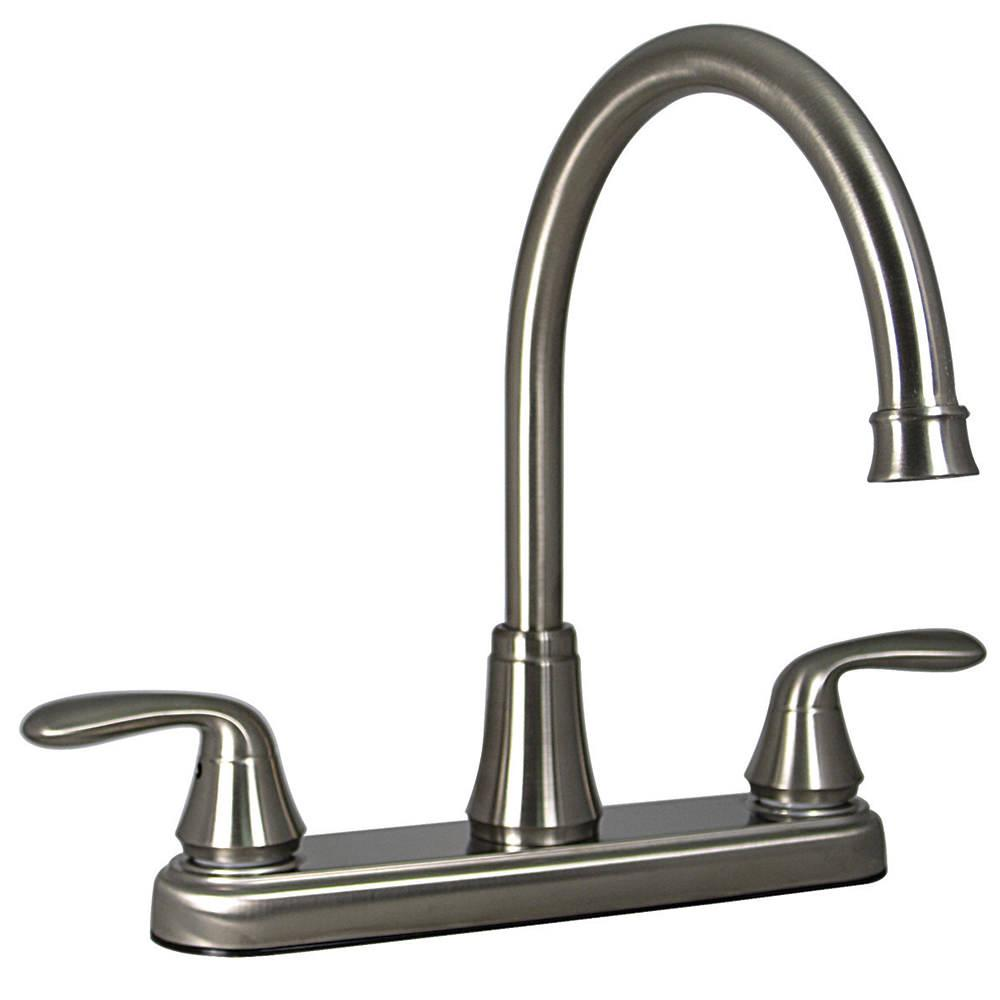 Kitchen 2 handle faucet brushed nickel finish valterra for Kitchen faucet finishes