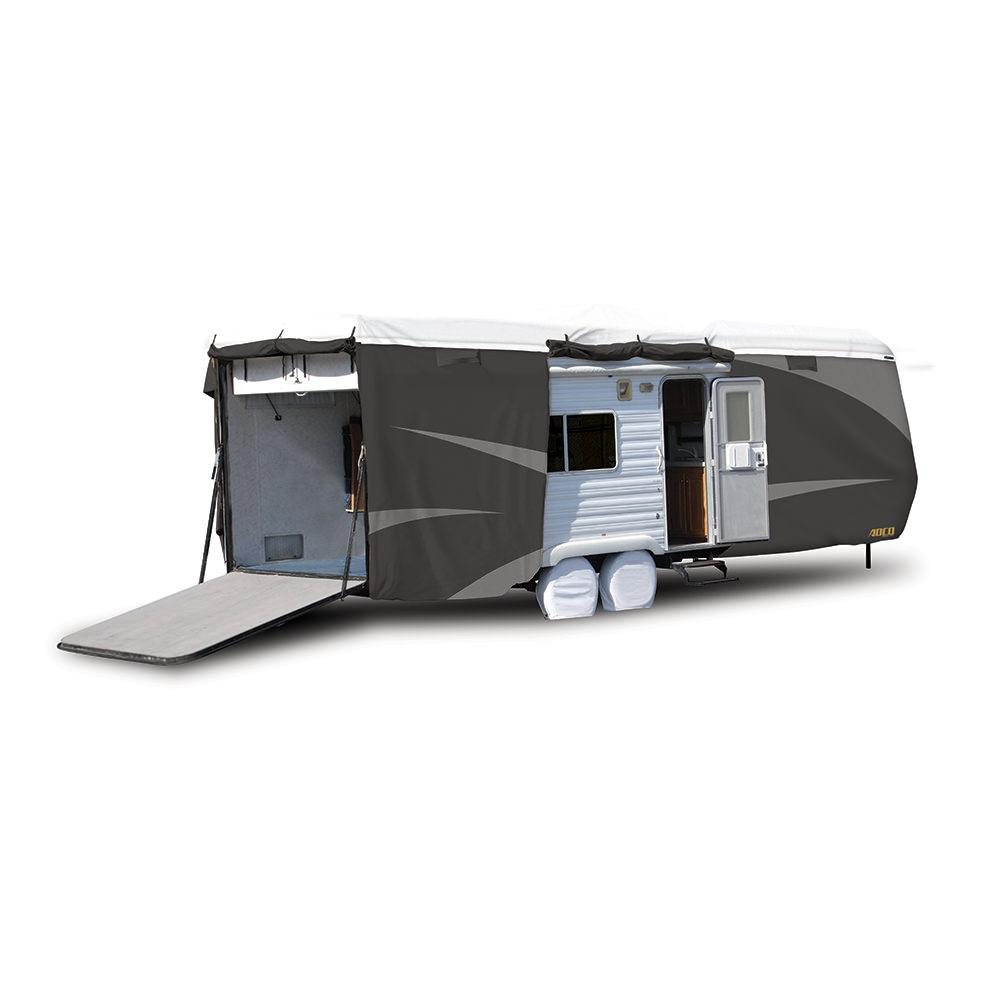 Toy Hauler With Outdoor Kitchen: ADCO All Climate + Wind Designer Tyvek RV Cover