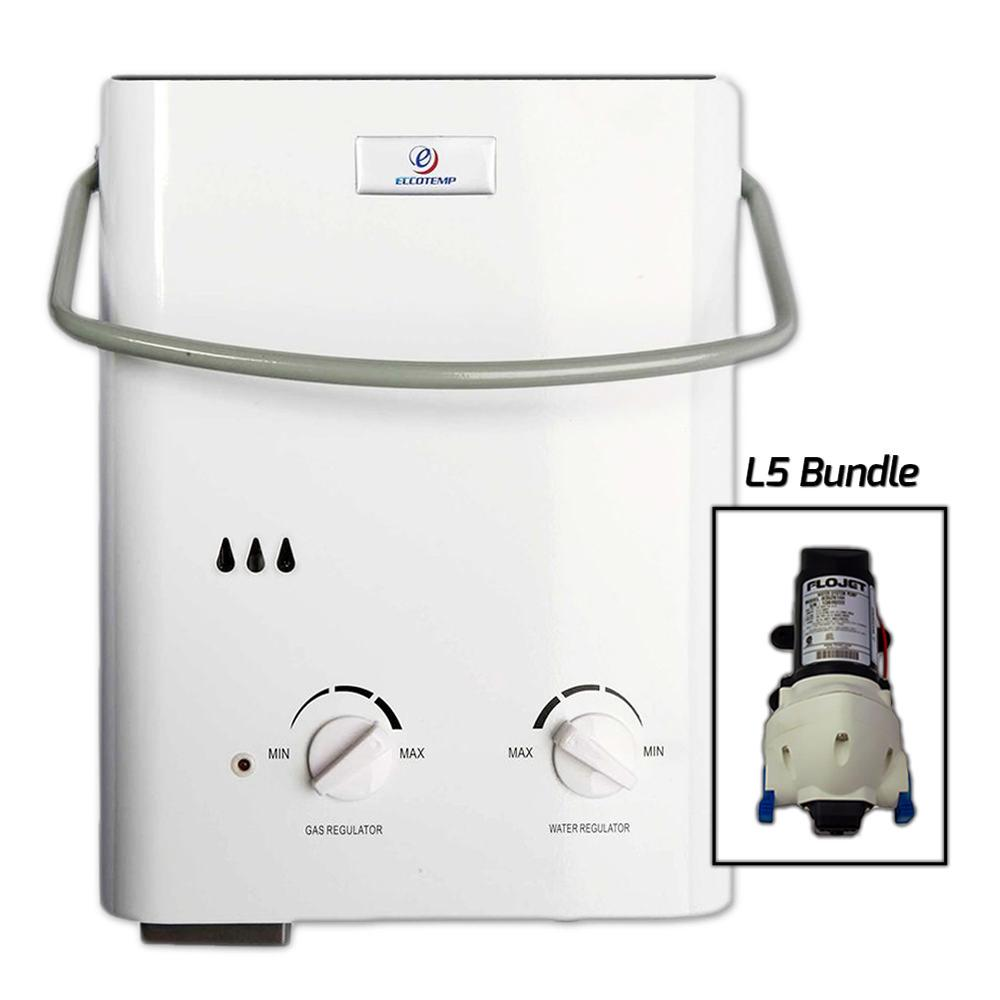 Eccotemp l5 portable tankless water heater and flojet pump for Chauffe eau piscine propane