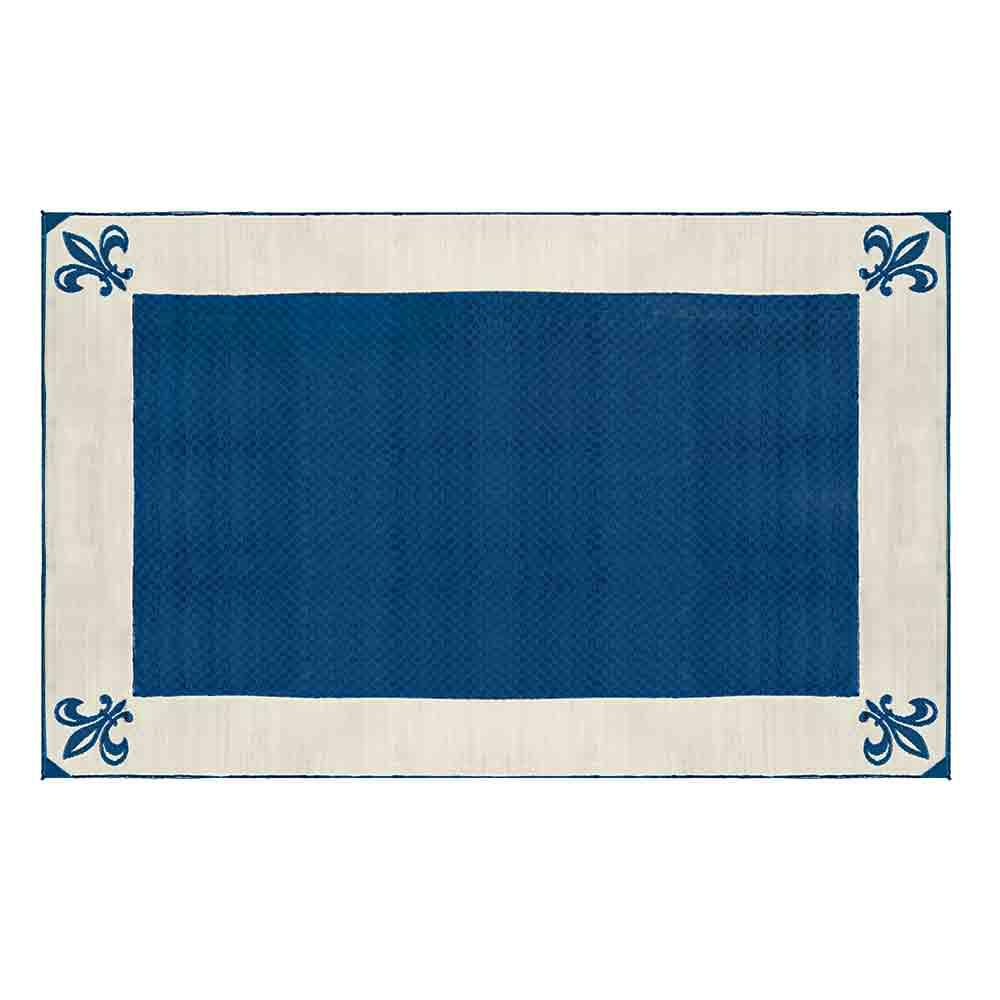 Patio Mat, Polypropylene, Fleur De Lis Design, 9x12, Navy - Outdoor Patio Mats & Rugs, Area Rugs, Outdoor & RV Rugs, Camping