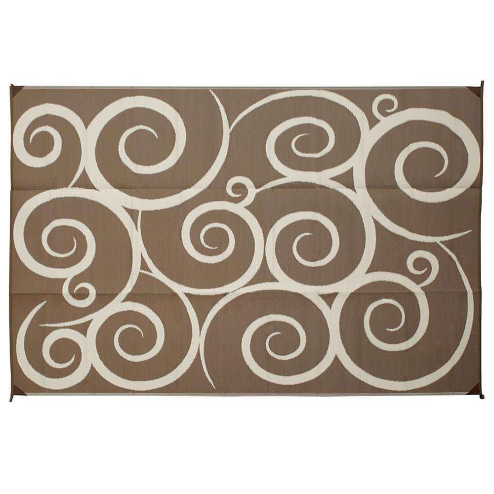 Great Direcsource Ltd Reversible Patio Mat, 9 X 12, Brown/Cream Swirl Design ...