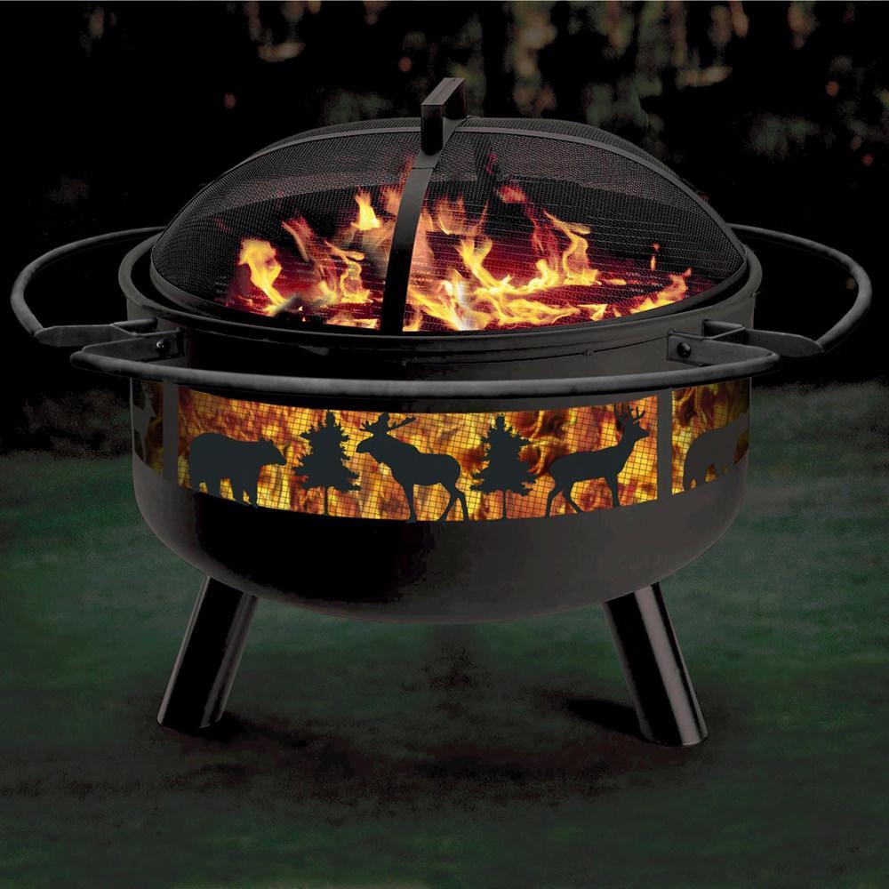 solid steel fire pit grill combo ebay. Black Bedroom Furniture Sets. Home Design Ideas