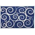 Reversible Swirl Design Patio Mat, 6' x 9', Navy/Cream