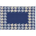 Reversible Patio Mats, 9' x 12' Honeycomb Design Navy/Gray/Tan