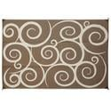 Reversible Patio Mats, 6\' x 9\' Swirl Design Brown/Cream