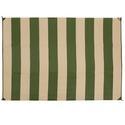 Reversible Patio Mats, 9' x 12' Basic Stripe Dark Green/Tan