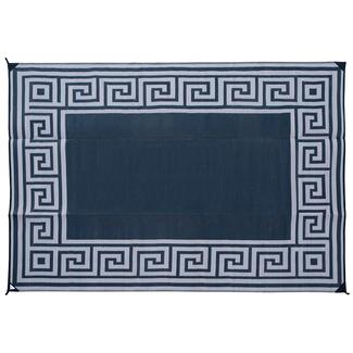 Reversible Greek Motif Design Patio Mat, 9' x 12', Black