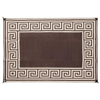 Reversible Greek Design Patio Mat, 9' x 12', Coffee Brown