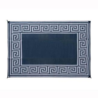 Reversible Greek Motif Design Patio Mat, 6' x 9', Black