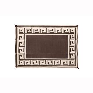 Reversible Greek Design Motif Patio Mat 6' x 9' - Coffee Brown