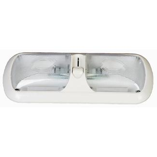 White Dimmable LED Double Euro Fixture with Clear Optic Lens