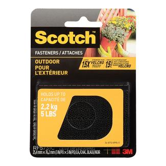 "Scotch Outdoor Fasteners, 1"" x 3"", Black, Set of 2"