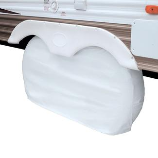 Snow White Overdrive RV Dual Axle Wheel Cover, XL