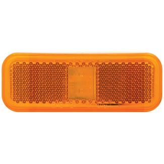 Rectangular LED Clearance/Marker Light; 2 Diode; White Base; Two Wire; Amber